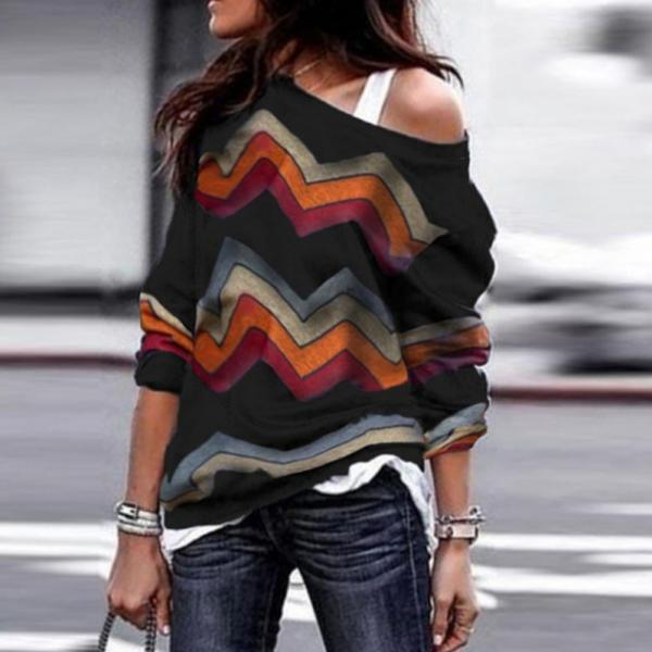 Women Long Sleeve T Shirt Spring Autumn Off Shoulder Casual Geometric Printed Pullover Tops black