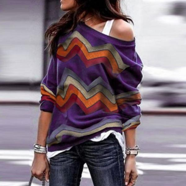 Women Long Sleeve T Shirt Spring Autumn Off Shoulder Casual Geometric Printed Pullover Tops purple