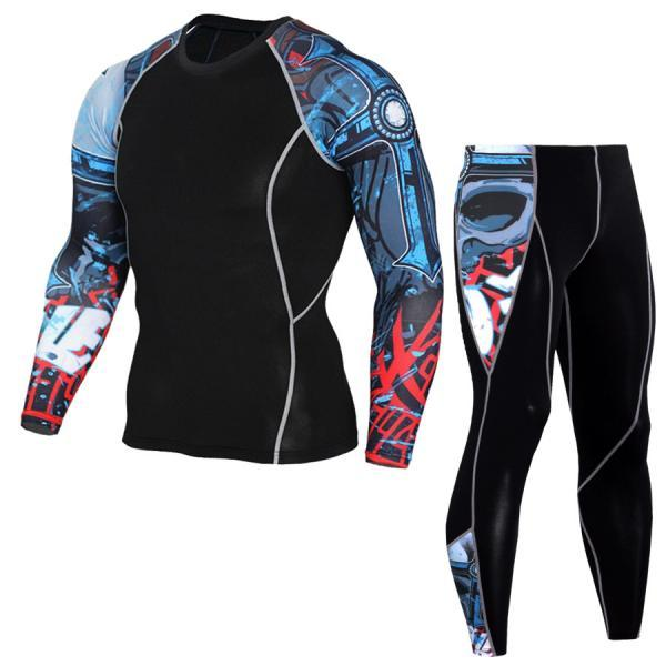 Men Tracksuit 3D Printed Long Sleeve Casual Fitness Slim Fit Sportswear Quick Dry Two Pieces Set 9#