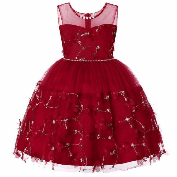 Princess Flower Girl Dress Sleeveless Formal Birthday Perform Party Tutu Gown Children Kids Clothes wine red
