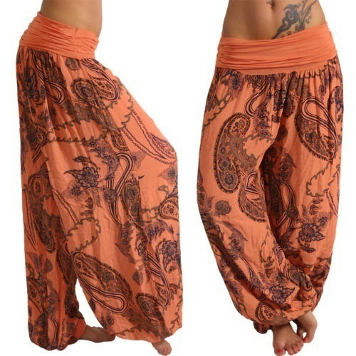 Women Floral Printed Wide Leg Pants Boho Casual Loose Vintage Plus Size Long Harem Trousers orange