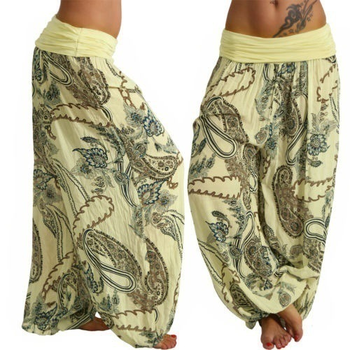Women Floral Printed Wide Leg Pants Boho Casual Loose Vintage Plus Size Long Harem Trousers yellow