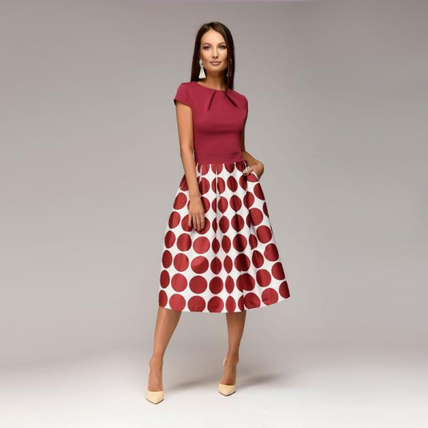 Women Casual Dress Short Sleeve Polka Dot Patchwork A Line Formal Party Dress red