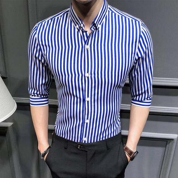 Men Striped Shirt Summer Turn-down Collar 3/4 Sleeve Casual Plus Size Slim Fit Shirt blue