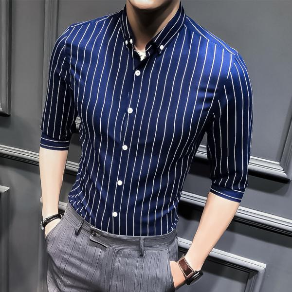 Men Striped Shirt Summer Turn-down Collar 3/4 Sleeve Casual Plus Size Slim Fit Shirt navy blue