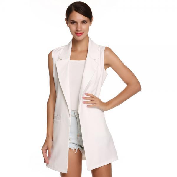 Women Waistcoat Spring Autumn Lapel Neck Work Office Casual Long Vest Slim Sleeveless Coat off white