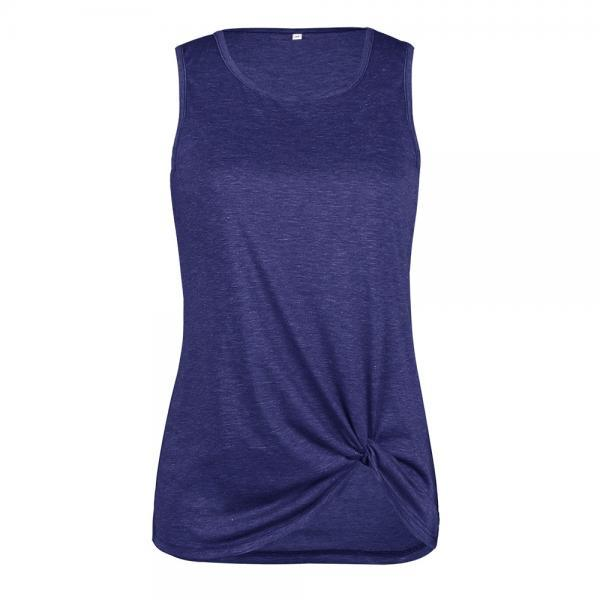 Women Tank Top Summer O Neck Vest Top Casual Loose Sleeveless T Shirt navy blue
