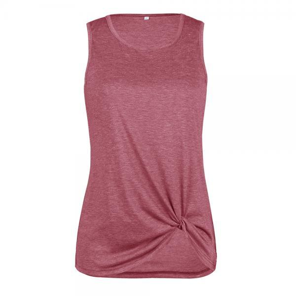 Women Tank Top Summer O Neck Vest Top Casual Loose Sleeveless T Shirt Sand red