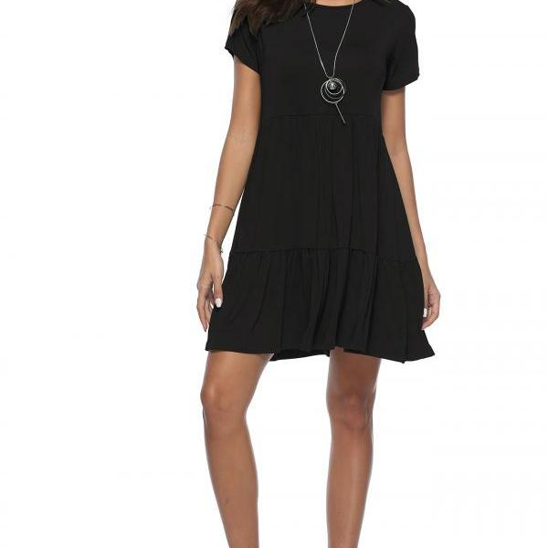 Women Cake Dress Summer Boho Beach Short Sleeve Casual Loose Mini Dress black
