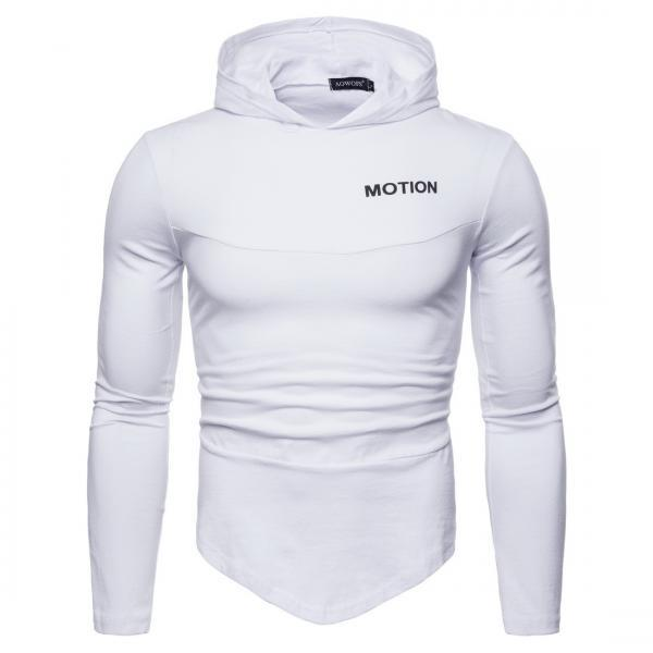 Men Long Sleeve T Shirt Spring Autumn Hooded Hip Hop Casual Streetwear Slim Fit Asymmetrical Tops off white