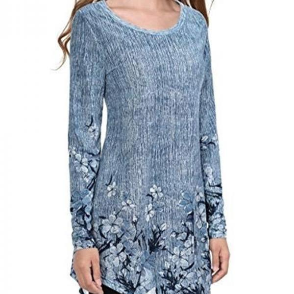 Women Long Sleeve T Shirt Spring Autumn Floral Printed Plus Size Casual Slim Asymmetrical Tops blue