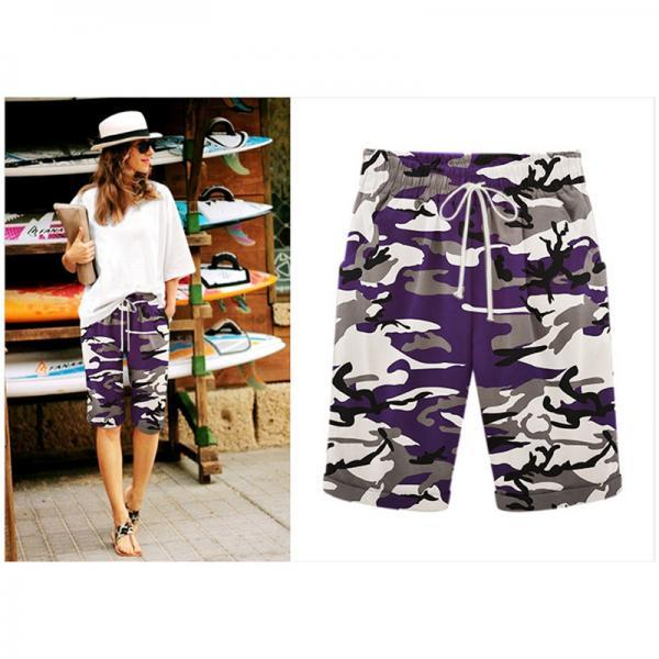 Women Camouflage Shorts Drawstring Elastic Waist Knee Length Summer Casual Loose Trousers purple