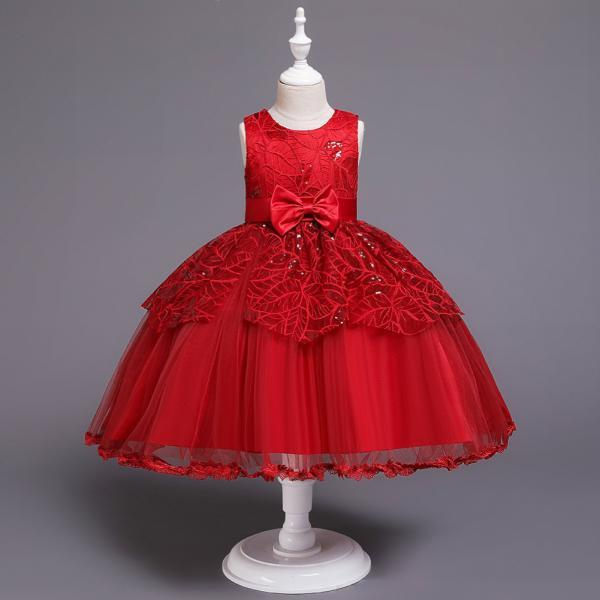 Lace Flower Girl Dress Princess Wedding Communion Birthday Party Gown Children Kids Clothes wine red
