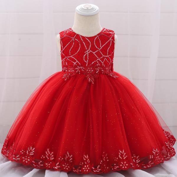 Sequined Lace Flower Girl Dress Newborn Christening Baptism Party Birthday Gown Baby Kids Clothes red