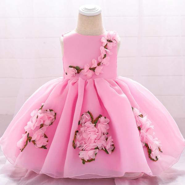 Sweet Flower Girl Dress Floral Newborn Christening Baptism Party Birthday Tutu Gown Baby Kids Clothes pink