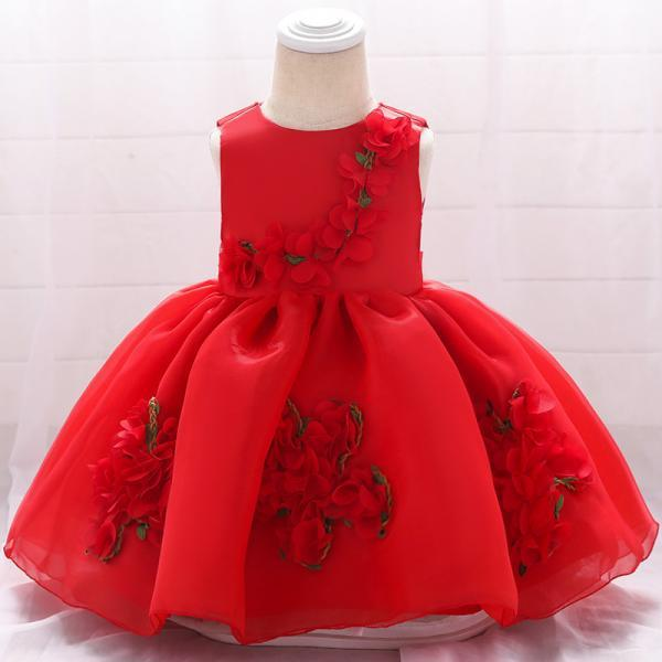 Sweet Flower Girl Dress Floral Newborn Christening Baptism Party Birthday Tutu Gown Baby Kids Clothes red