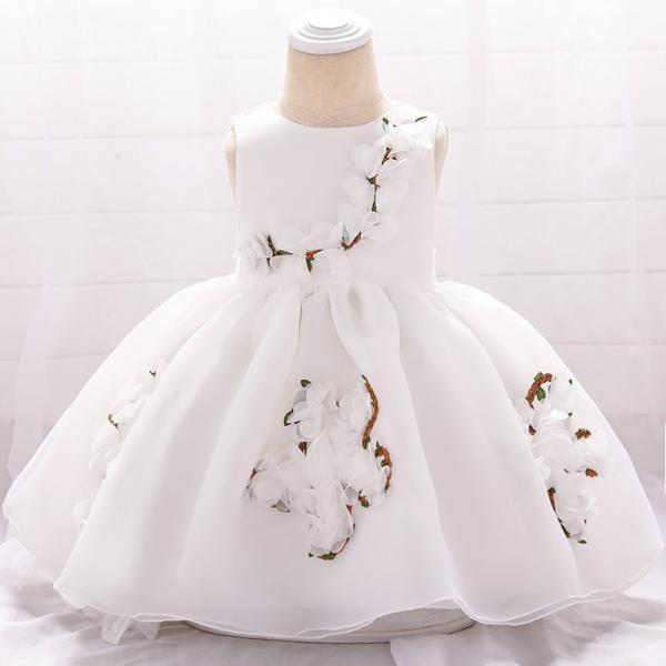 Sweet Flower Girl Dress Floral Newborn Christening Baptism Party Birthday Tutu Gown Baby Kids Clothes white