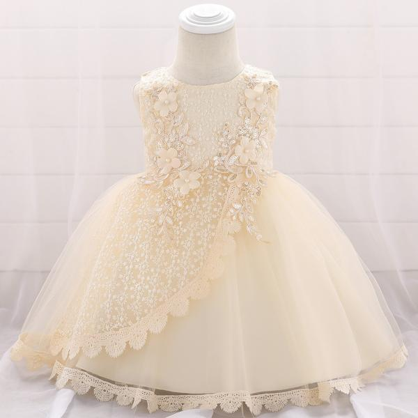 Lace Flower Girl Dress Princess Newborn Baptism Party Birthday Tutu Gown Baby Kids Clothes champagne