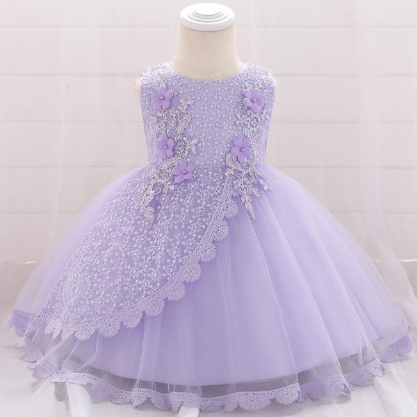 Lace Flower Girl Dress Princess Newborn Baptism Party Birthday Tutu Gown Baby Kids Clothes lilac