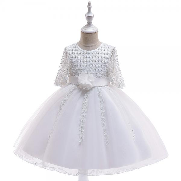 Beaded Flower Girl Dress Half Sleeve Lace Wedding Birthday Perform Party Tutu Gown Children Kids Clothes white