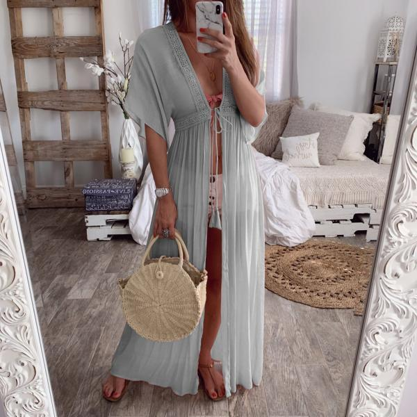 Women Maxi Dress V-Neck Half Sleeve Casual Lace Summer Beach Holiday Cardigan Long Dress gray