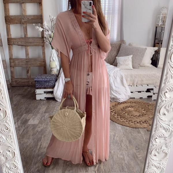 Women Maxi Dress V-Neck Half Sleeve Casual Lace Summer Beach Holiday Cardigan Long Dress pink