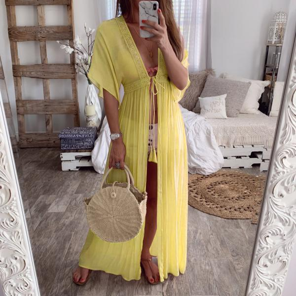 Women Maxi Dress V-Neck Half Sleeve Casual Lace Summer Beach Holiday Cardigan Long Dress yellow
