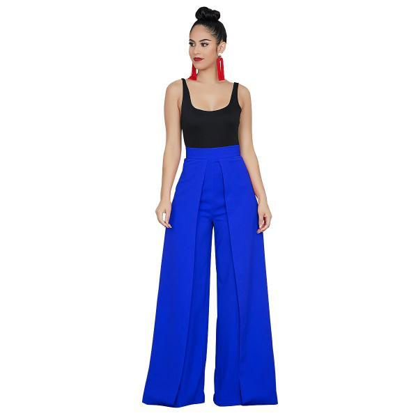 Women Wide Leg Pants Casual High Waist Loose Back Zipper Work Office Long Trousers blue