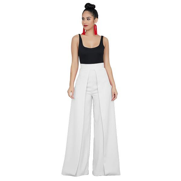 Women Wide Leg Pants Casual High Waist Loose Back Zipper Work Office Long Trousers white