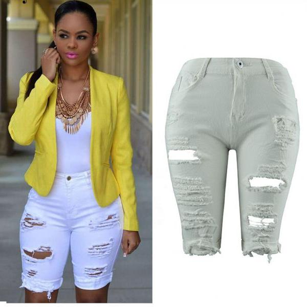 Women Jeans Summer High Waist Knee Length Ripped Holes Skinny Short Denim Pants white