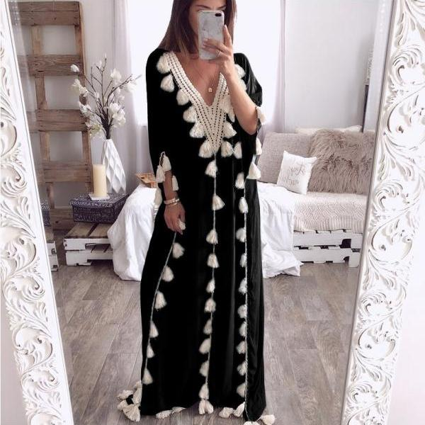 Women Maxi Dress Summer V Neck 3/4 Sleeve Tassels Beach Causal Loose Boho Long Dress black