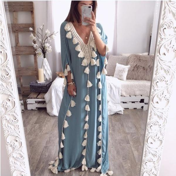 Women Maxi Dress Summer V Neck 3/4 Sleeve Tassels Beach Causal Loose Boho Long Dress light blue