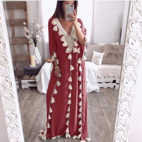 Women Maxi Dress Summer V Neck 3/4 Sleeve Tassels Beach Causal Loose Boho Long Dress wine red