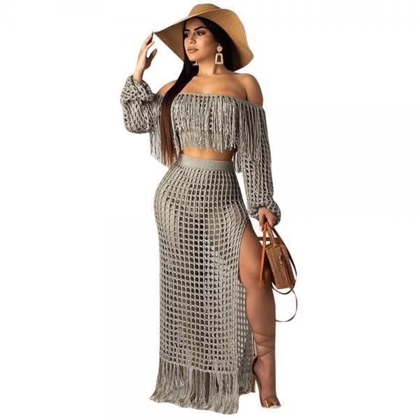Women Two Pieces Set Mesh Grid Sheer Tassel Off Shoulder Crop Top+Side Split Maxi Skirt Summer Beach Long Suits gray