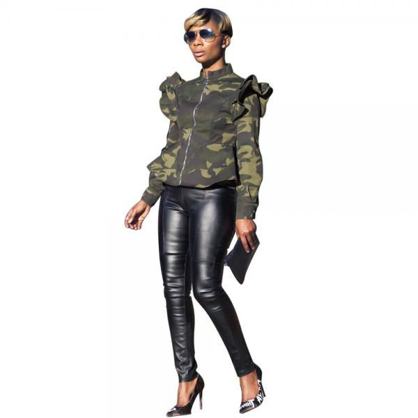 Women Camouflage Printed Coat Spring Fall Stand Collar Long Sleeve Ruffles Zip Jackets green