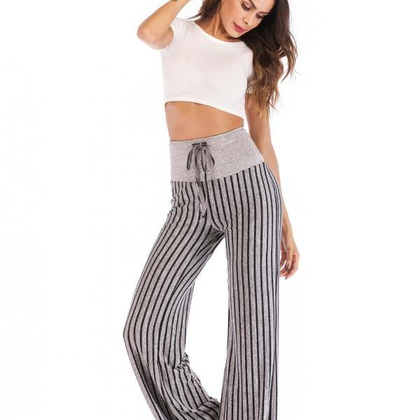 Women Striped Pants Drawstring High Waist Yoga Sports Casual Loose Long Trousers black