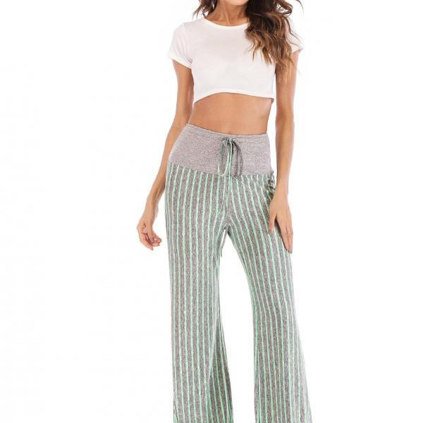 Women Striped Pants Drawstring High Waist Yoga Sports Casual Loose Long Trousers green