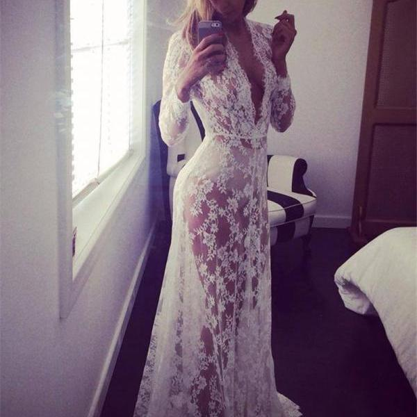 Women Perspective Lace Dress Sexy V Neck Long Sleeve Plus Size Maxi Long Party Prom Dress white