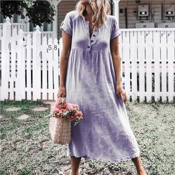 Women Maxi Dress Causal V Neck Short Sleeve Button Loose Summer Beach Long T Shirt Dress lilac