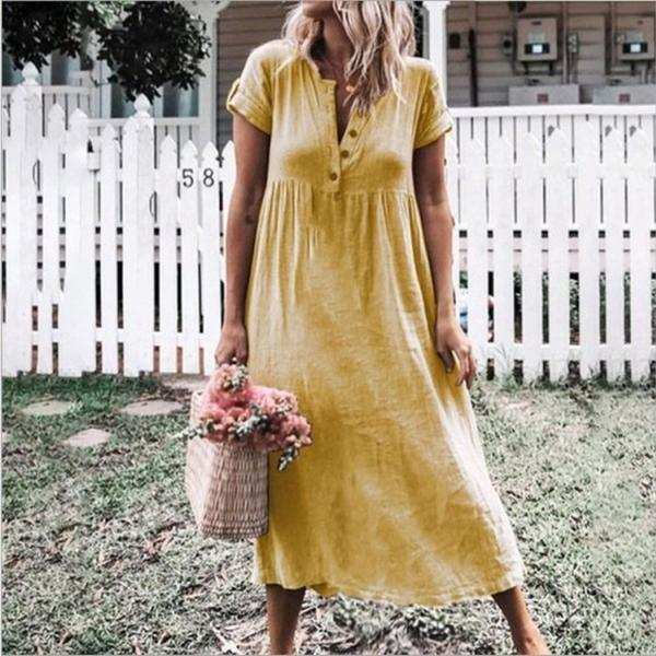Women Maxi Dress Causal V Neck Short Sleeve Button Loose Summer Beach Long T Shirt Dress yellow