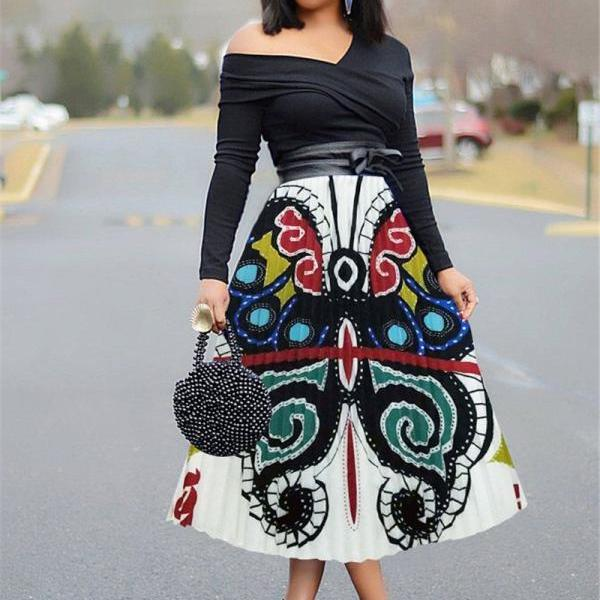 Women Pleated Skirt High Waist Vintage Cartoon Printed Mid-Calf Casual Midi Skirt 5#