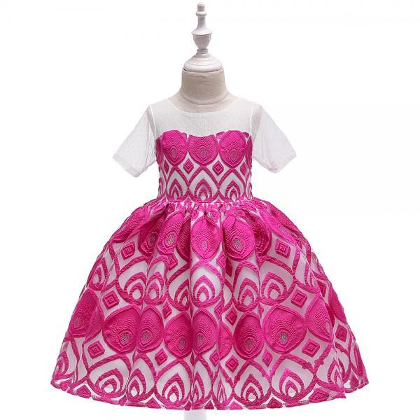 Lace Flower Girl Dress Short Sleeve Formal Party Birthday Tutu Gown Kids Children Clothes hot pink