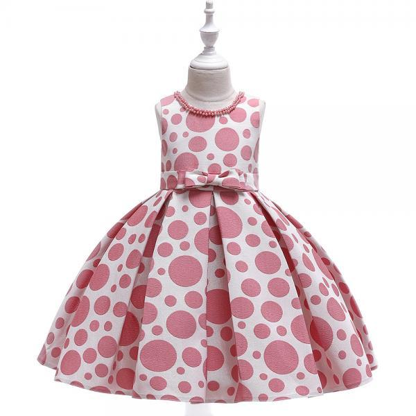 Polka Dot Flower Girl Dress Princess Formal Party Birthday Tutu Gown Kids Children Clothes blush