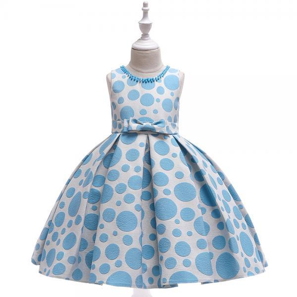 Polka Dot Flower Girl Dress Princess Formal Party Birthday Tutu Gown Kids Children Clothes blue