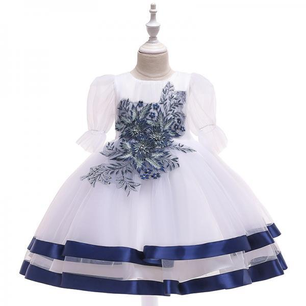 Princess Flower Girl Dress Puff Sleeve Tutu Wedding Birthday Party Perform Gown Children Kids Clothes navy blue