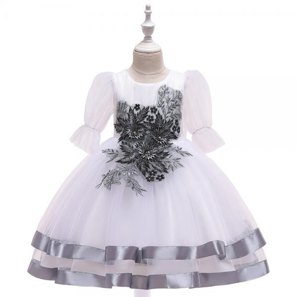 Princess Flower Girl Dress Puff Sleeve Tutu Wedding Birthday Party Perform Gown Children Kids Clothes gray