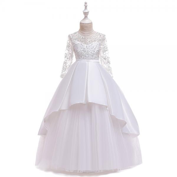 Long Sleeve Flower Girls Dress Lace Tutu Wedding Birthday Formal Party Gown Kids Children Clothes white