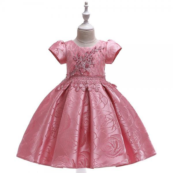 Beaded Flower Girl Dress Short Sleeve Formal Birthday Party Tutu Gown Chidlren Kids Clothes bean pink