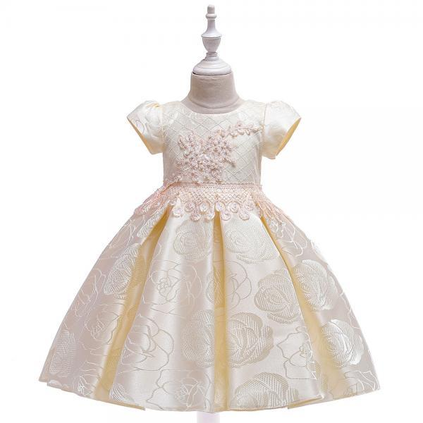 Beaded Flower Girl Dress Short Sleeve Formal Birthday Party Tutu Gown Chidlren Kids Clothes champagne