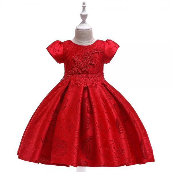 Beaded Flower Girl Dress Short Sleeve Formal Birthday Party Tutu Gown Chidlren Kids Clothes red
